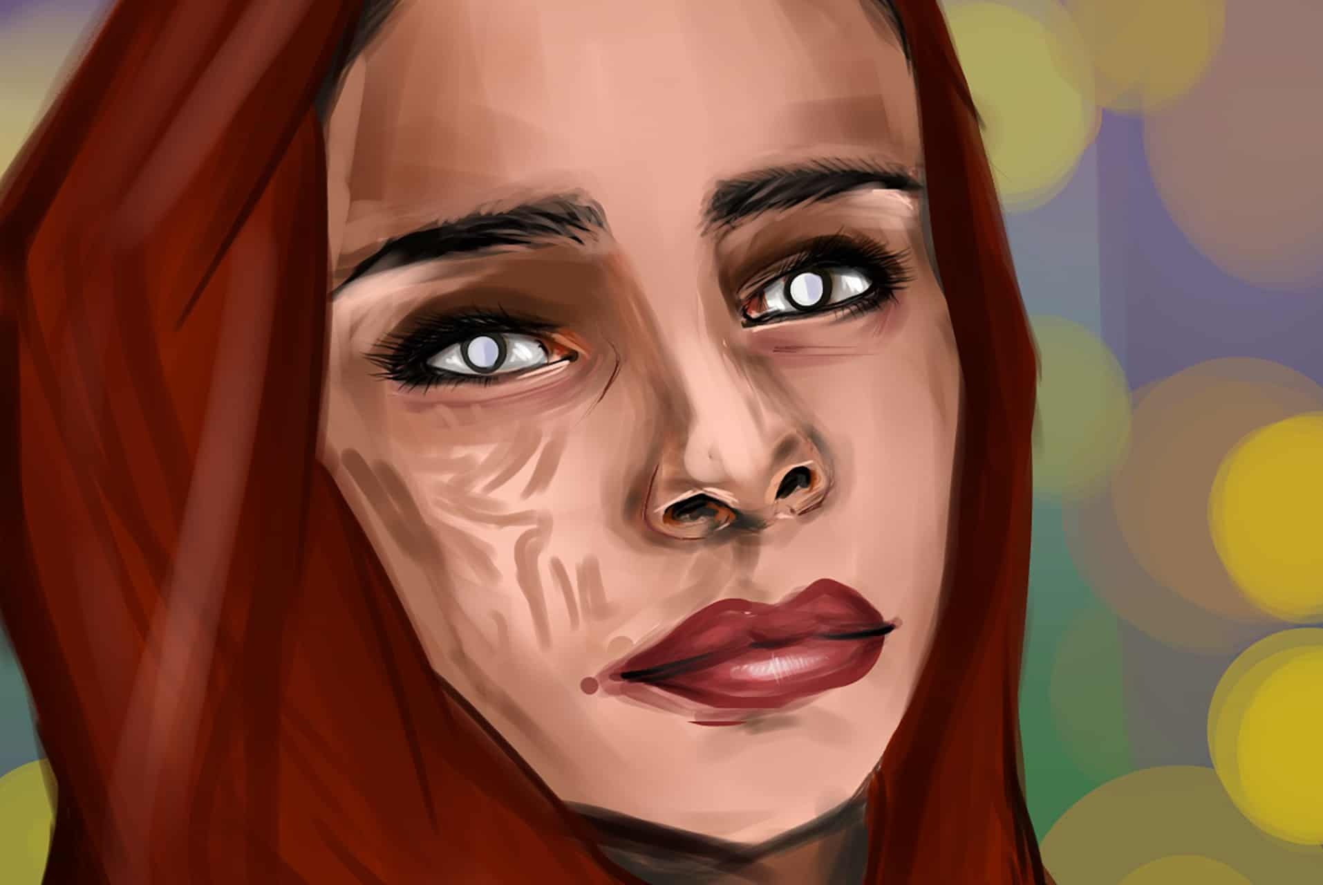 gezeichnete Frau mit Kopftuch