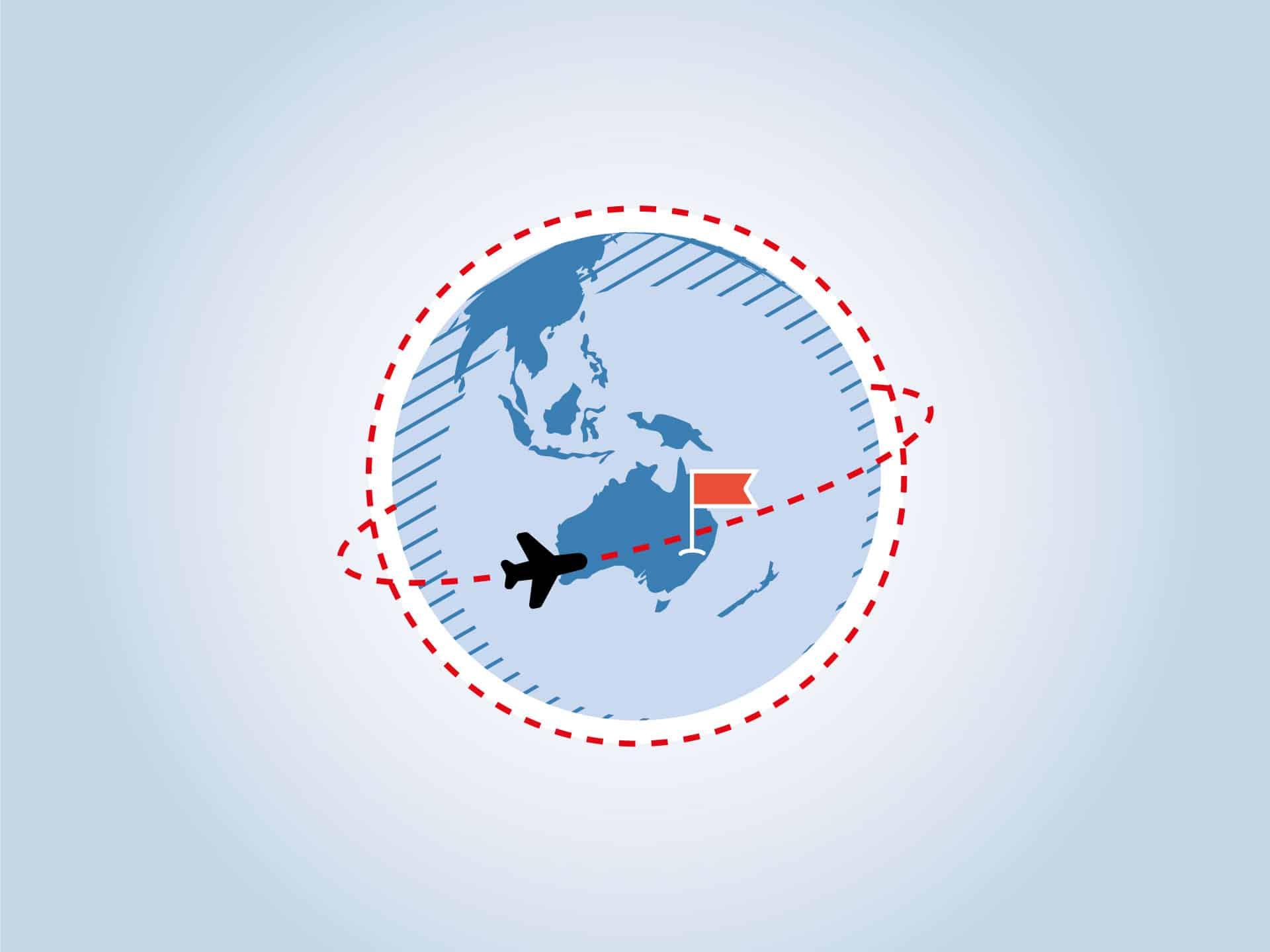 Grafik einer Weltkugel und Flugzeug, das Australien ansteuert