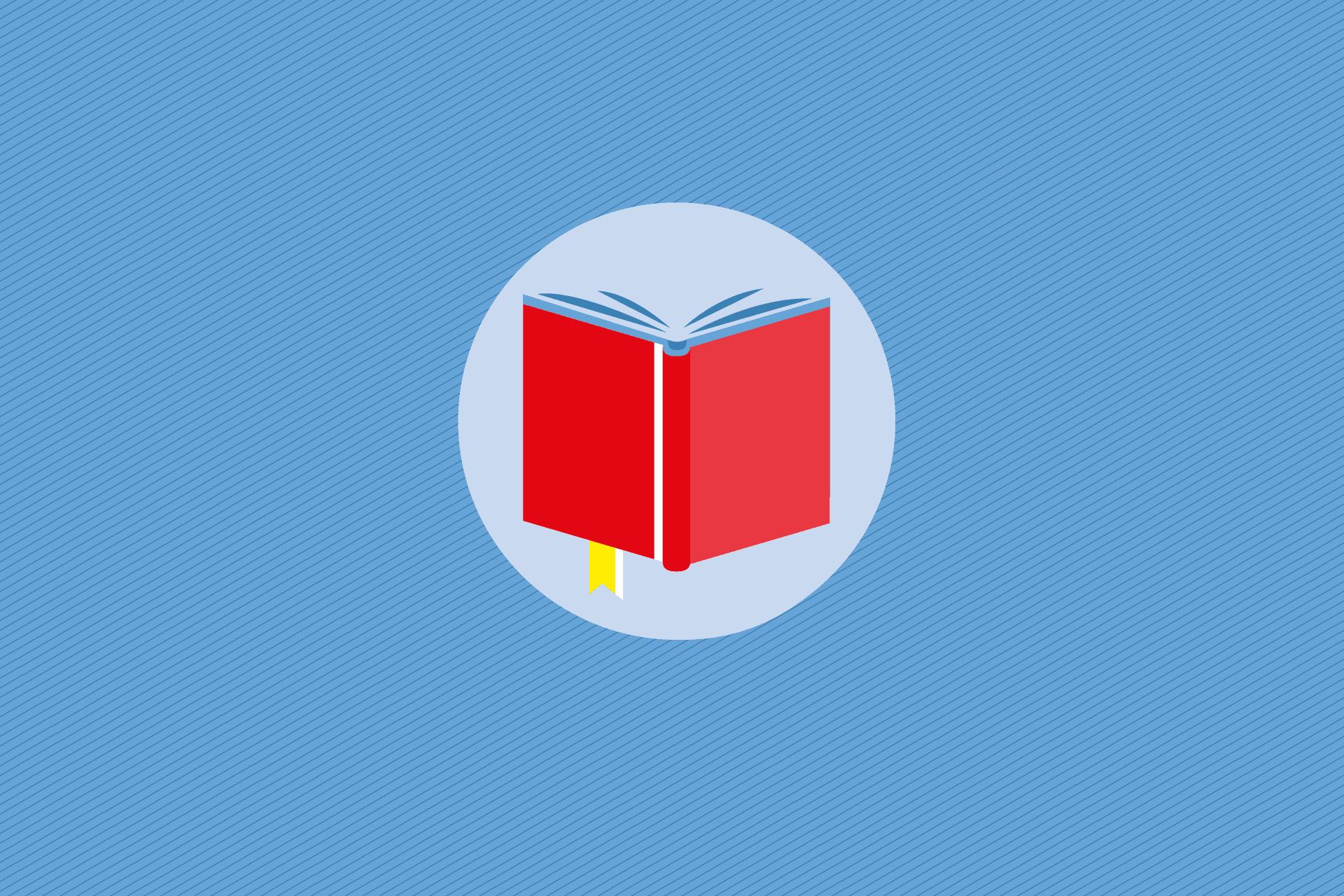 Buch auf blauem Grund