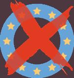 ein blauer Kreis mit gelben Sternen und einem roten Kreuz