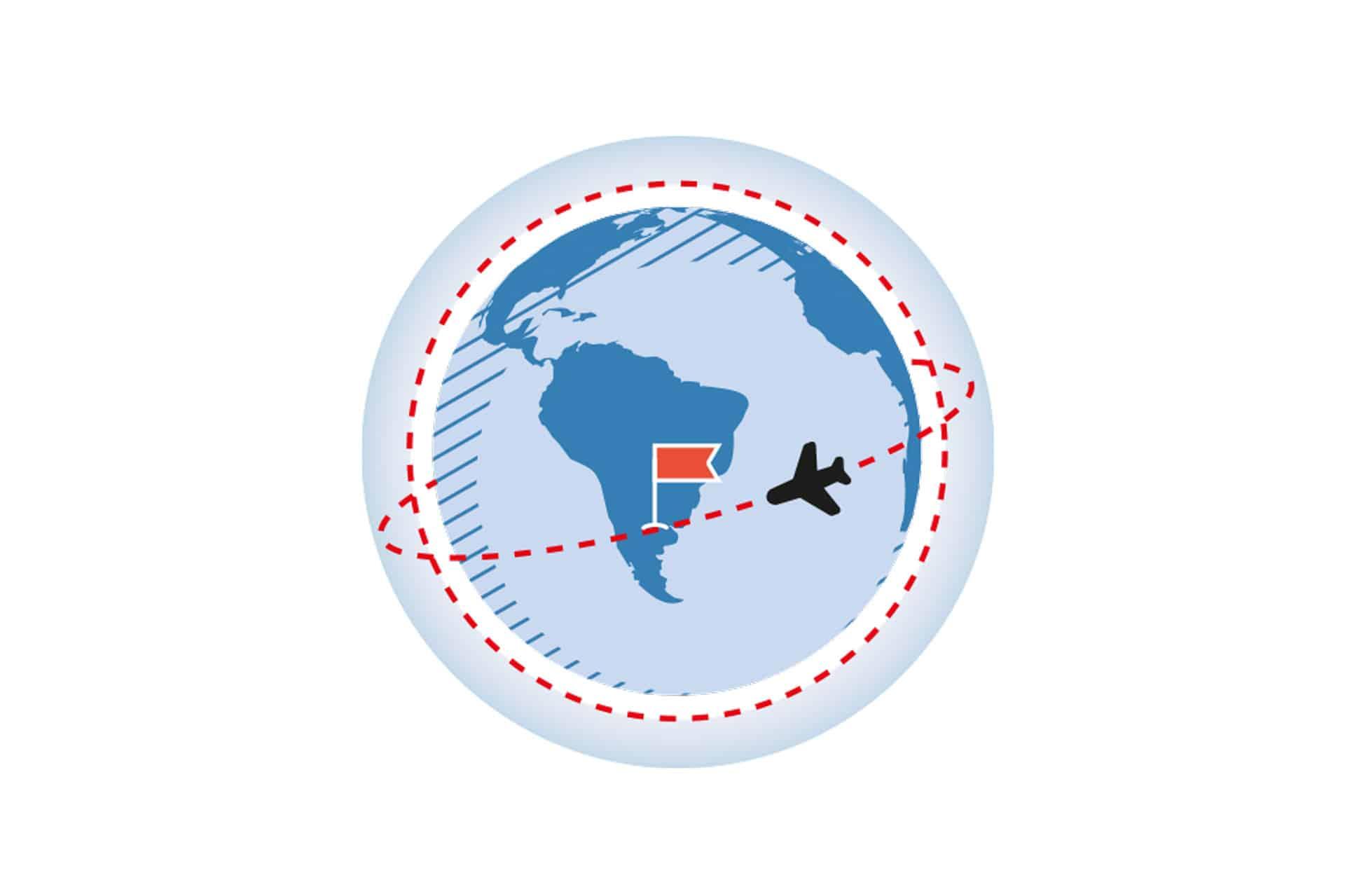 Weltkugel: Flugzeug fliegt Argentinien an