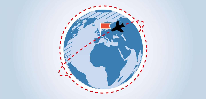 Grafik einer Weltkugel mit Flugzeug