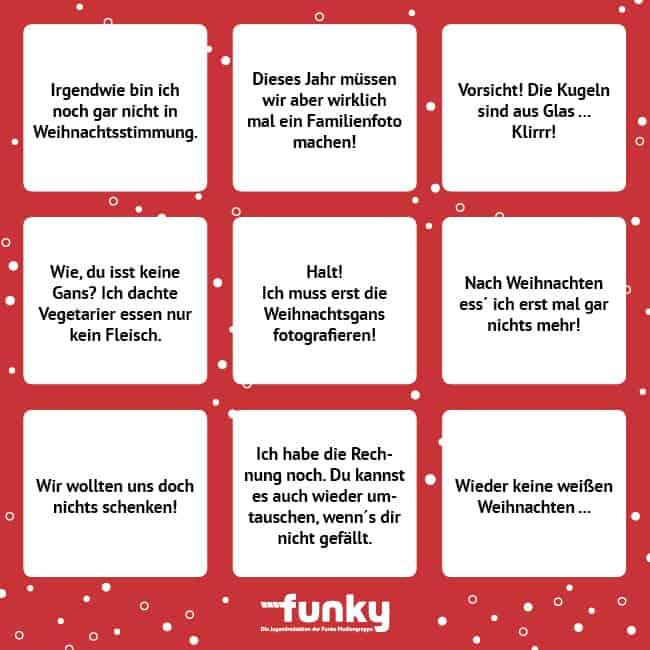 Weihnachts-Bingo
