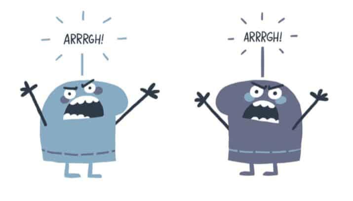 Zwei gezeichnete Wesen streiten.