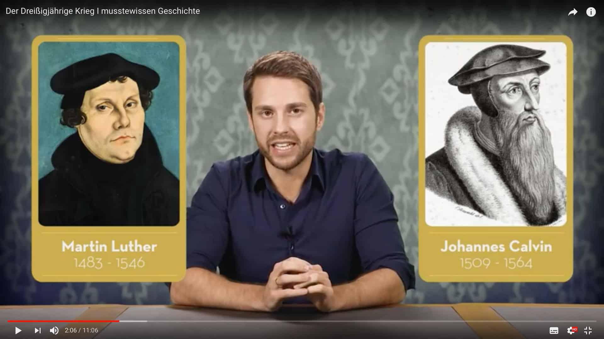 Mirko Drotschmann erklärt zu Bildern von Luther und Calvin