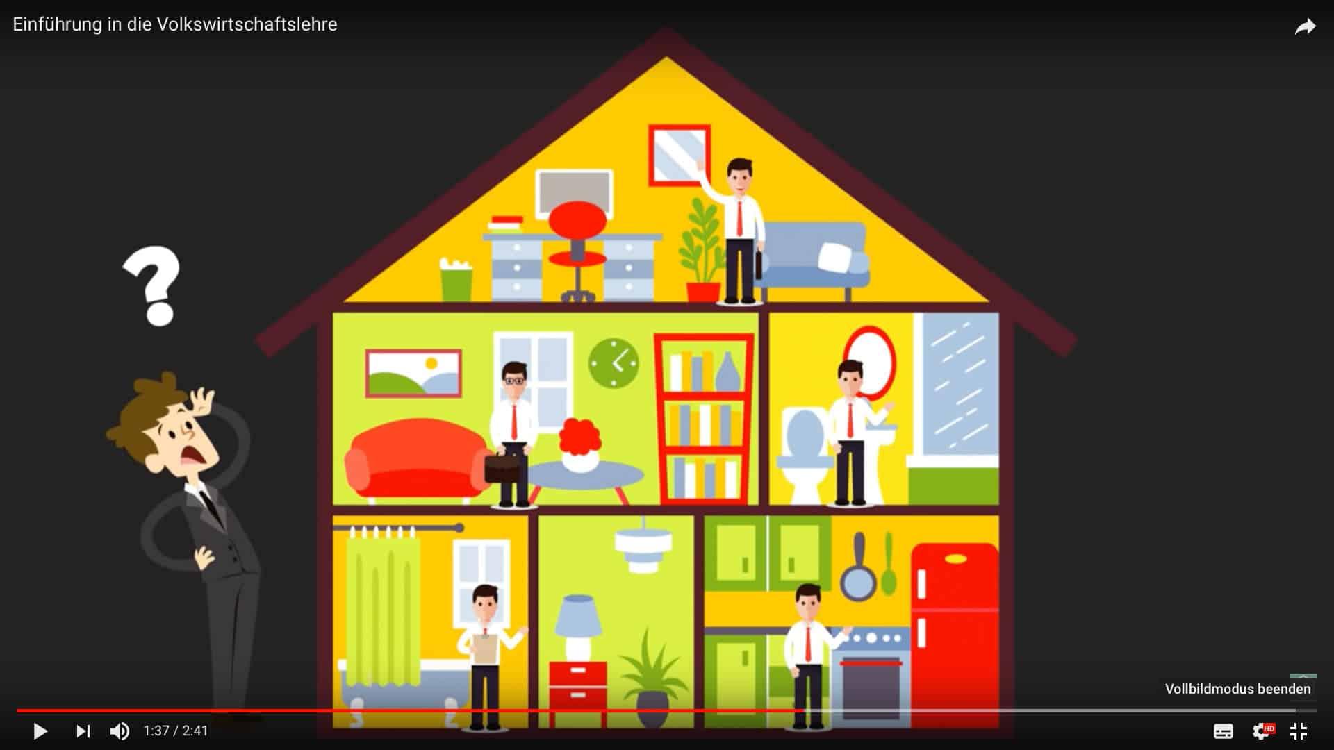 Schaubild eines Hauses zur Visualisierung von Wirtschaftsthemen.