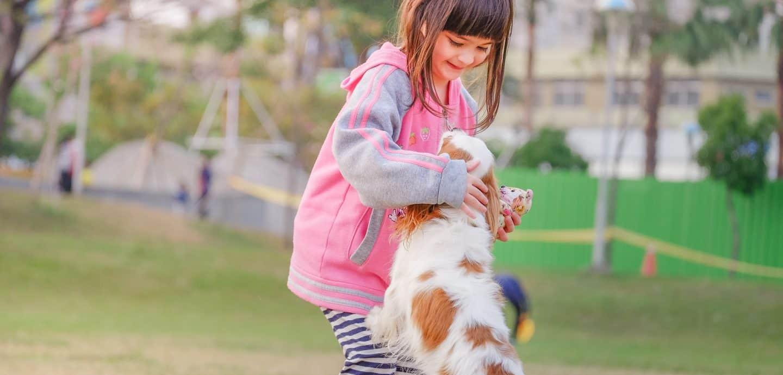 Maedchen spielt mit Hund