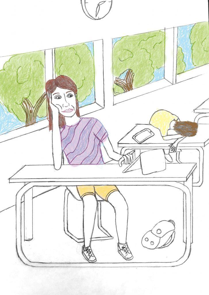 gezeichnete Situation in einem Klassenraum