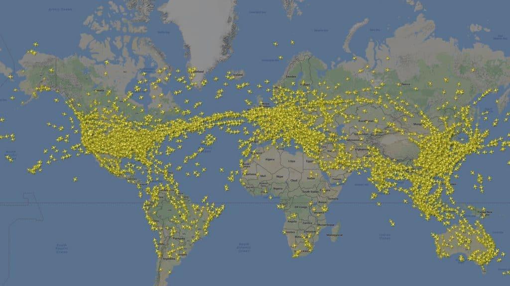 Screenshot von Flightradar