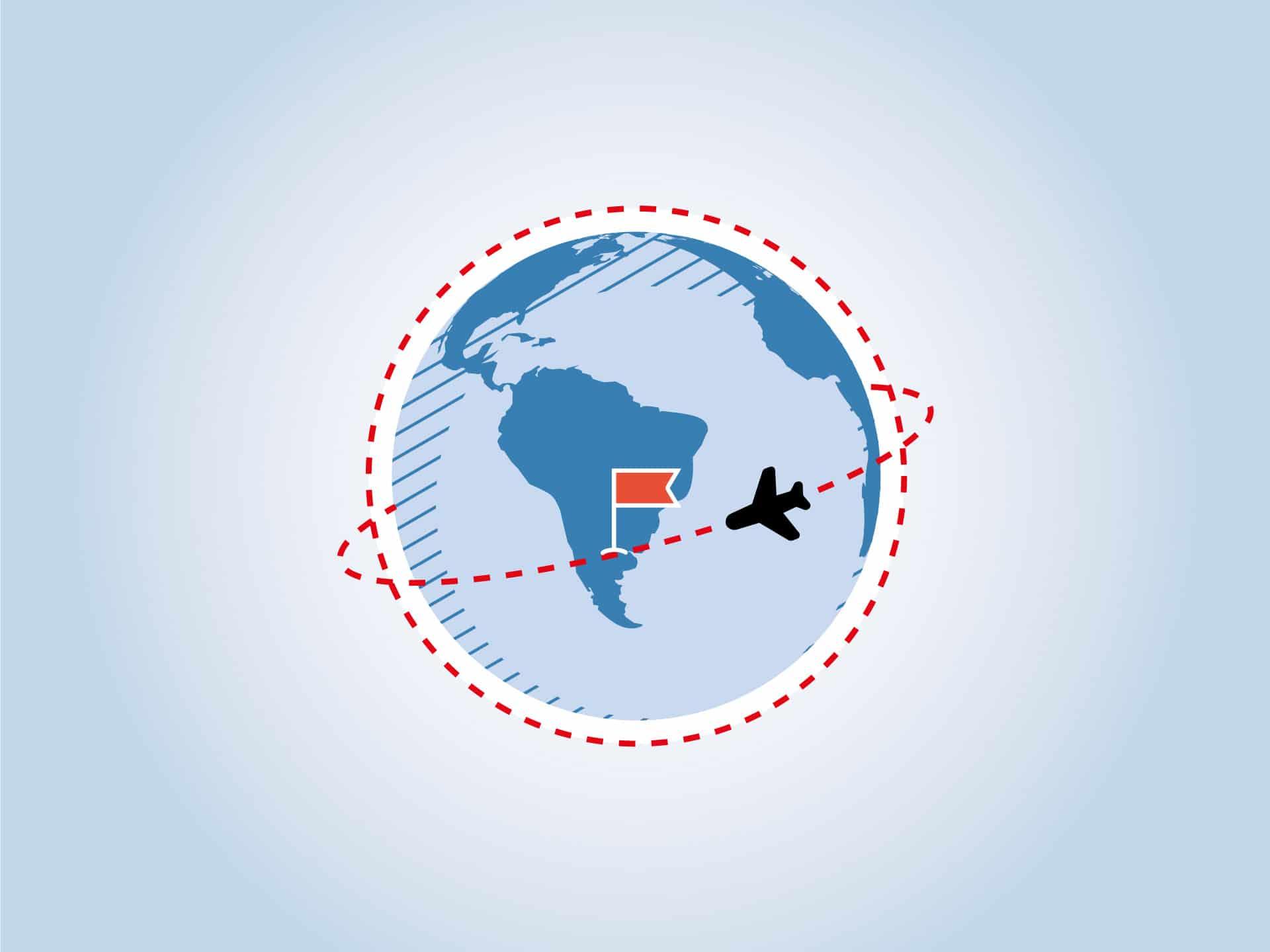 Flugzeug über Weltkugel mit dem Ziel Argentinien