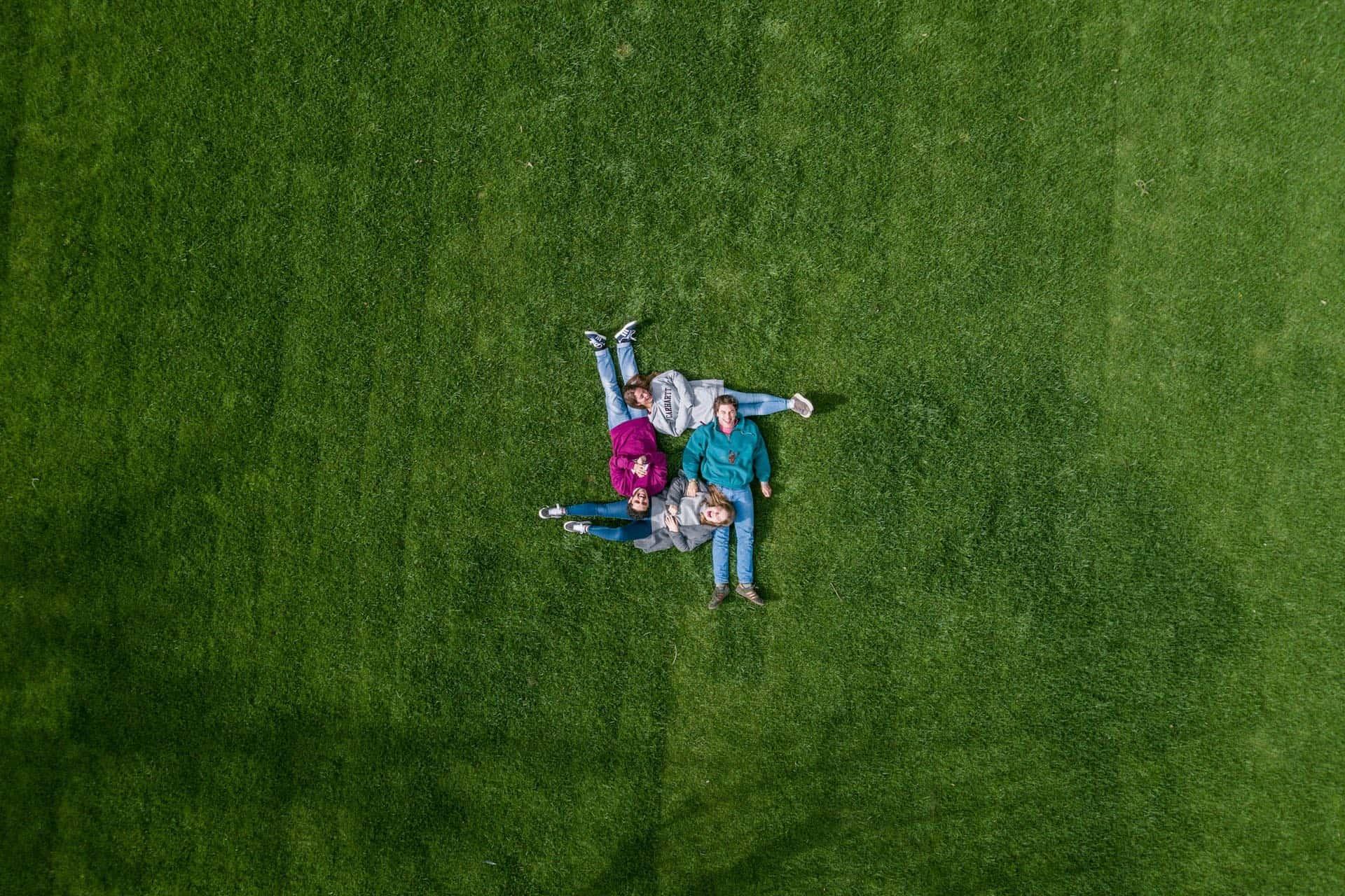 vier Menschen liegen zusammen auf einer Wiese