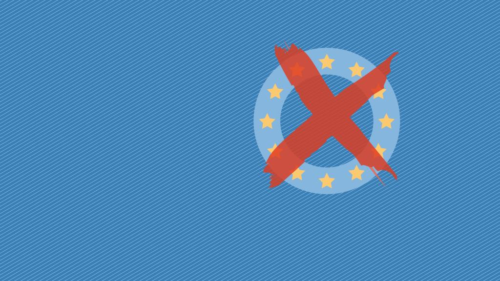 Blauer Kreis mit gelben Sternen und rotem Kreuz als Zeichen für die Serie zur Europawahl