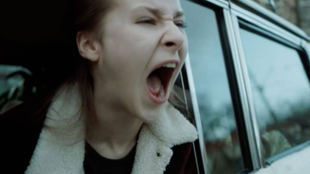 Junges Mädchen schreit aus Autofenster (c) Screenshot