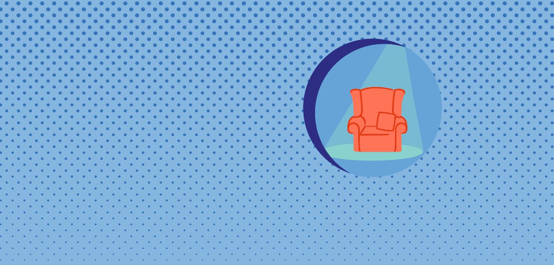 Grafik eines roten Sessels im Scheinwerferlicht auf blauem Grund