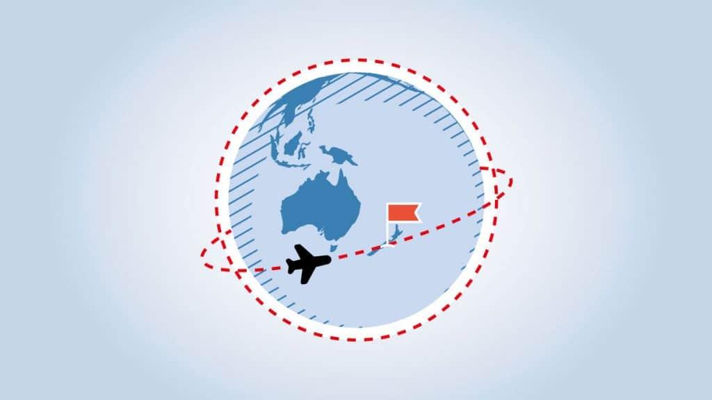 Grafik einer Weltkugel, Fähnchen auf Neuseeland