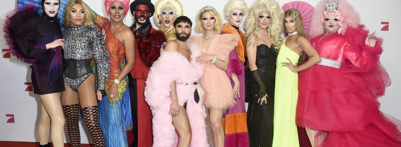 Die teilnehmenden Dragqueens bei der TV-Premiere.