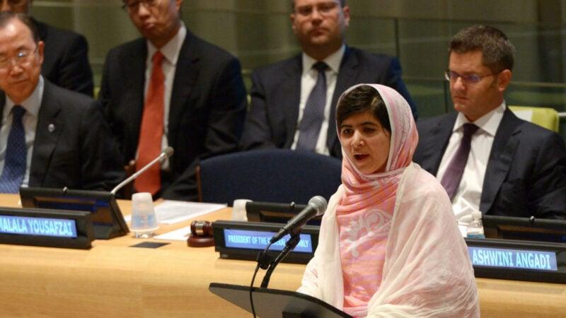 Die Kinderrechtsaktivistin Malala Yousafzai bei einer Rede