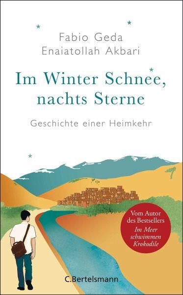 Cover des Werkes Im Winter Schnee, nachts Sterne. Ein junger Mann läuft links an einem Fluss entlang. Er läuft durch ein bergiges Gebiet auf eine Stadt zu.