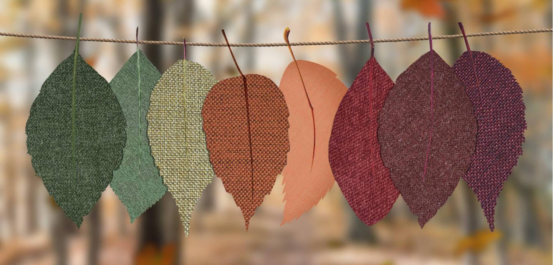 Wäscheleine mit bunten Blättern