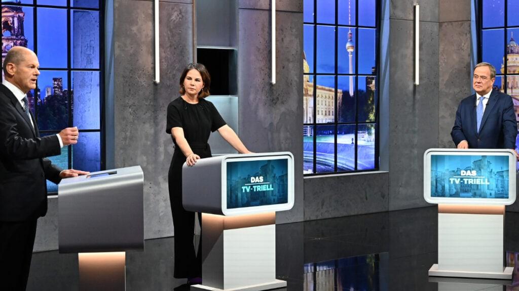 Olaf Scholz, Annalena Baerbock und Armin Laschet im TV-Triell