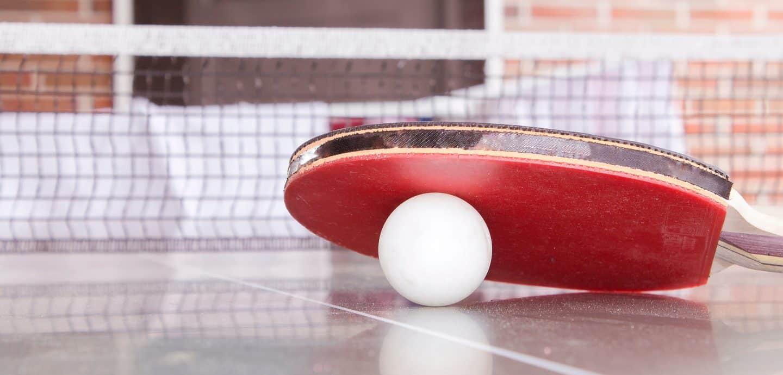 Tischtenniskelle und Bll auf Platte